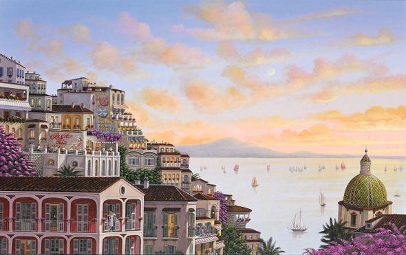 "Liudmila Kondakova Hand-Signed Archival Print on Canvas:""Sunset in Positano"""