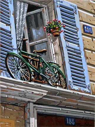 """Liudmila Kondakova Handsigned and Numbered Limited Edition Hand-Crafted Stone Lithograph: """"188 Rue de Marcine"""""""