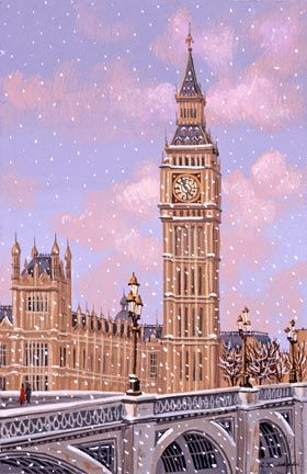 """Liudmila Kondakova Handsigned and Numbered Limited Edition Hand-Crafted Stone Lithograph: """"Big Ben"""""""