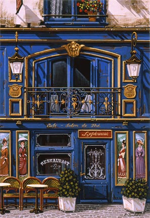 """Liudmila Kondakova Handsigned and Numbered Limited Edition Hand-Crafted Stone Lithograph: """"Caf' Salon de The"""""""