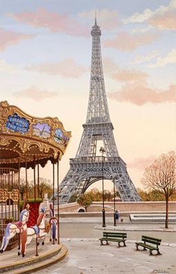 """Liudmila Kondakova Handsigned and Numbered Limited Edition Hand-Crafted Stone Lithograph: """"Carousel a la Tour Eiffel"""""""