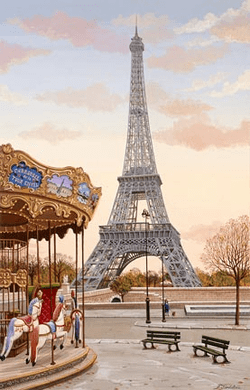"Liudmila Kondakova Handsigned and Numbered Limited Edition Hand-Crafted Stone Lithograph: ""Carousel a la Tour Eiffel"""