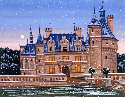 """Liudmila Kondakova Handsigned and Numbered Limited Edition Hand-Crafted Stone Lithograph: """"Chateau de la Loire"""""""