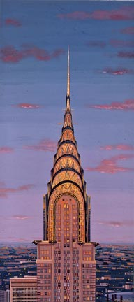 """Liudmila Kondakova Handsigned and Numbered Limited Edition Hand-Crafted Stone Lithograph: """"Chrysler Buiding"""""""