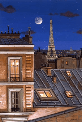 """Liudmila Kondakova Handsigned and Numbered Limited Edition Hand-Crafted Stone Lithograph: """"Eiffel Tower at Midnight"""""""