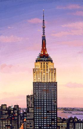 """Liudmila Kondakova Handsigned and Numbered Limited Edition Hand-Crafted Stone Lithograph: """"Empire State Building"""""""