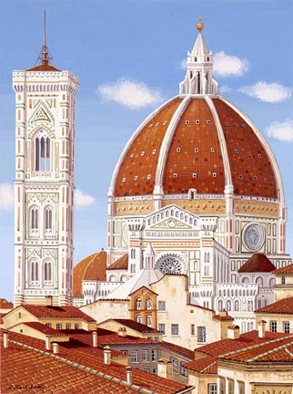 """Liudmila Kondakova Handsigned and Numbered Limited Edition Hand-Crafted Stone Lithograph: """"Firenze"""""""