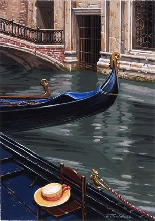 "Liudmila Kondakova Handsigned and Numbered Limited Edition Hand-Crafted Stone Lithograph: ""Gondola at Rest"""