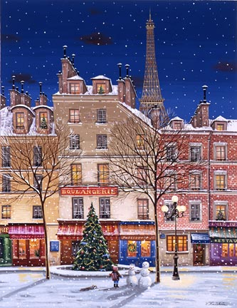 "Liudmila Kondakova Handsigned and Numbered Limited Edition Hand-Crafted Stone Lithograph:""Joyeux Noel"""