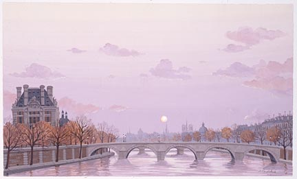 "Liudmila Kondakova Handsigned and Numbered Limited Edition Hand-Crafted Stone Lithograph: ""L'automne du Paris"""