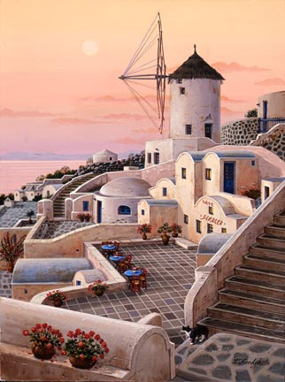 "Liudmila Kondakova Handsigned and Numbered Limited Edition Hand-Crafted Stone Lithograph: ""Mykonos Windmill"""