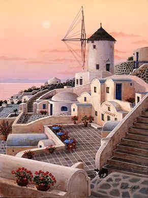 """Liudmila Kondakova Handsigned and Numbered Limited Edition Hand-Crafted Stone Lithograph: """"Mykonos Windmill"""""""