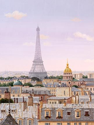 "Liudmila Kondakova Handsigned and Numbered Limited Edition Hand-Crafted Stone Lithograph: ""Paris Daybreak"""