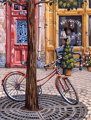 "Liudmila Kondakova Handsigned and Numbered Limited Edition Hand-Crafted Stone Lithograph: ""Parisian Summer"""