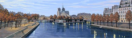 """Liudmila Kondakova Handsigned and Numbered Limited Edition Hand-Crafted Stone Lithograph: """"Pont de la Tournelle"""""""