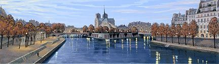 "Liudmila Kondakova Handsigned and Numbered Limited Edition Hand-Crafted Stone Lithograph: ""Pont de la Tournelle"""