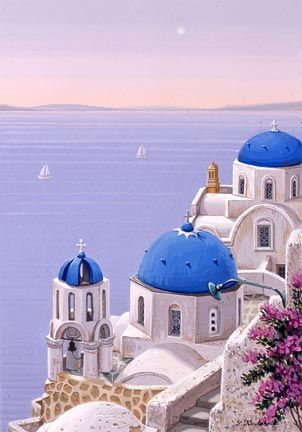 """Liudmila Kondakova Handsigned and Numbered Limited Edition Hand-Crafted Stone Lithograph: """"Santorini Dawn"""""""