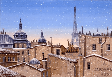 """Liudmila Kondakova Handsigned and Numbered Limited Edition Hand-Crafted Stone Lithograph: """"Snow Fall in Paris"""""""