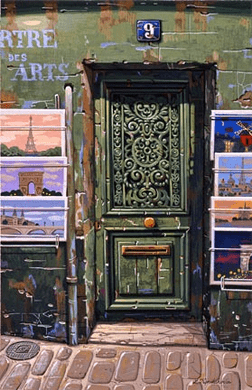 """Liudmila Kondakova Handsigned and Numbered Limited Edition Hand-Crafted Stone Lithograph: """"The Green Door"""""""