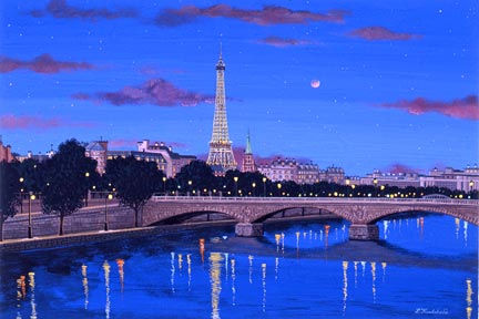 """Liudmila Kondakova Handsigned and Numbered Limited Edition Hand-Crafted Stone Lithograph: """"The Seine"""""""