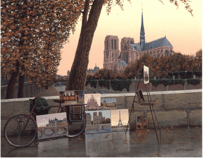 """Liudmila Kondakova Handsigned and Numbered Limited Edition Serigraph on Gesso Board:""""Autumn on the Seine"""""""