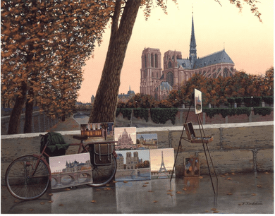 "Liudmila Kondakova Handsigned and Numbered Limited Edition Serigraph on Gesso Board:""Autumn on the Seine"""