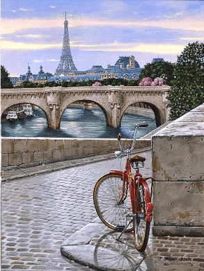 """Liudmila Kondakova Handsigned and Numbered Limited Edition Serigraph on Gesso Board:""""Daybreak on the Seine"""""""