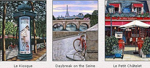 """Liudmila Kondakova Handsigned and Numbered Limited Edition Serigraph on Gesso Board: """" I Remember Paris"""" Suite of Three / Matching Numbers"""