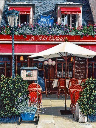 """Liudmila Kondakova Handsigned and Numbered Limited Edition Serigraph on Gesso Board:""""Le Petit Châtelet"""""""