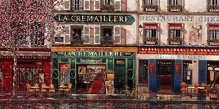 """Liudmila Kondakova Handsigned and Numbered Limited Edition Serigraph on Gesso Board:""""Les Trois Cafes"""""""