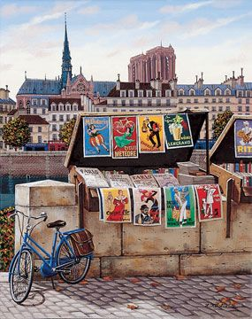 "Liudmila Kondakova Handsigned & Numbered Limited Edition Serigraph on Canvas:"" Postcards from Paris-Pont Neuf"""