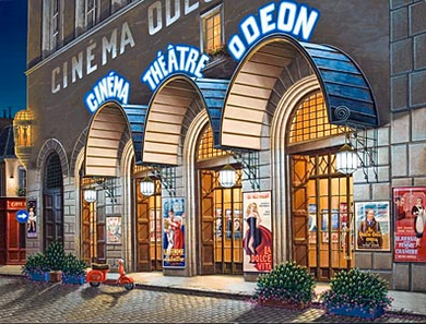 "Liudmila Kondakova Handsigned & Numbered Limited Edition Serigraph on Gesso Board:""Cinéma Odeon"""