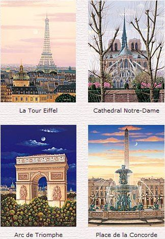 """Liudmila Kondakova Limited Edition (Matching Numbered) Serigraphs on Gesso Board:"""" Toujours Paris – Suite Of 4 """""""