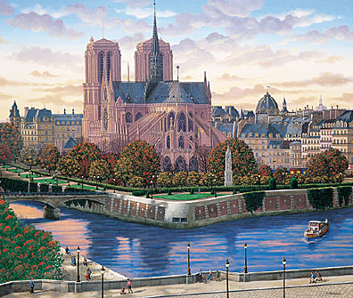 "Liudmila Kondakova Signed And Numbered Limited Edition Serigraph on Coventry Smooth White Paper :""Ile de la Cite"""