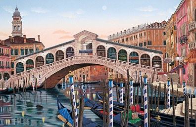 "Liudmila Kondakova Signed And Numbered Limited Edition Serigraph on Coventry Smooth White Paper:""Rialto Bridge At Sunset"""