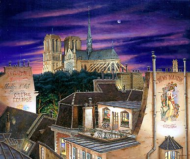 """Liudmila Kondakova Signed And Numbered Limited Edition Serigraph on Paper: """"Notre Dame At Dusk """""""