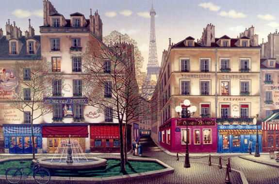 "Liudmila Kondakova Signed And Numbered Limited Edition Serigraph:""Rive Gauche """