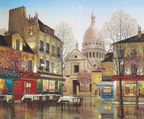 "Liudmila Kondakova Signed And Numbered Limited Edition Serigraph Serigraph on Coventry Smooth White Paper :""April In Paris """
