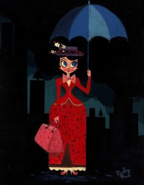 "Lorelay Bove Signed and Numbered Giclée on Canvas: ""Mary's Umbrella"""