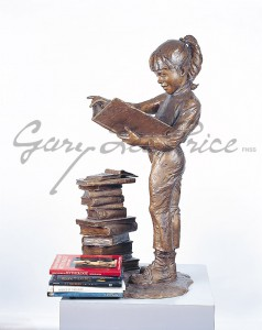 "Gary Lee Price Fine Art Bronze Sculpture:""Bookworm 2 (Female)"""