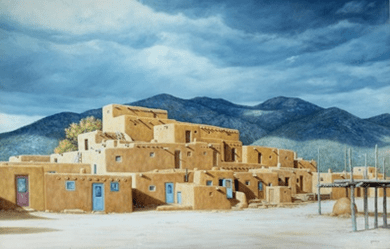 "Lorna Patrick Limited Edition Serigraph on Paper: "" Approaching the Storm over Taos Pueblo """