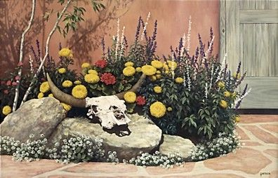 """Lorna Patrick Limited Edition Serigraph on Paper:""""Courtyard Garden"""""""
