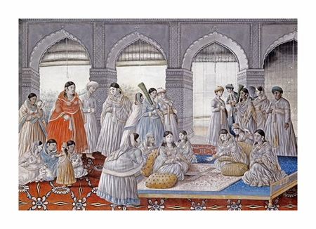 """Lucknow School Fine Art Open Edition Giclée:""""The Royal Harem Playing Pachisi in a Lucknow Palace"""""""