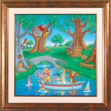 """Manuel Hernandez Framed Hand Signed and Numbered Limited Edition Lithograph on Paper: """"Friends in the Wood"""""""