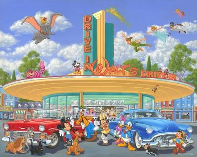 """Manuel Hernandez Signed and Numbered Artist Hand Embellished Giclée on Canvas: """"Walt's Drive In (Deluxe)"""""""