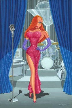 """Manuel Hernandez Signed and Numbered Giclée on Canvas: """"Diva in a Red Dress"""""""
