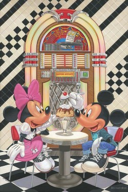 """Manuel Hernandez Signed and Numbered Giclée on Canvas: """"Sundae for Two"""""""