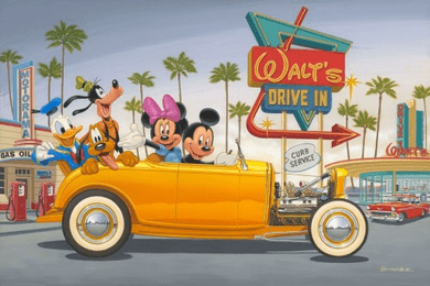 """Manuel Hernandez Signed and Numbered Giclée on Canvas: """"Yellow Coupe - Sold Out"""""""