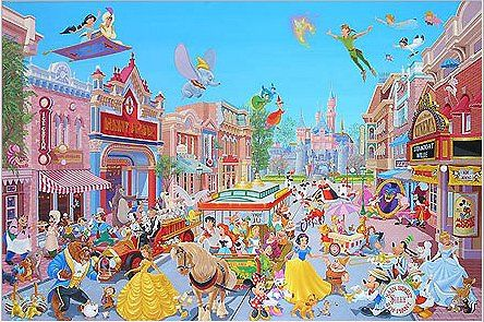 """Manuel Hernandez Signed and Numbered Giclée on Paper :""""Disneyland - The Happiest Street on Earth"""""""