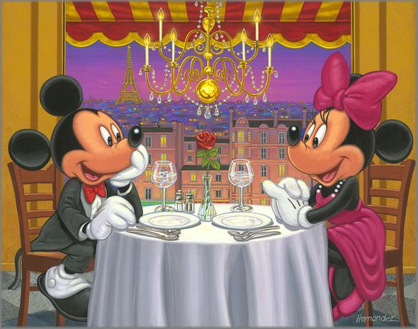 "Manuel Hernandez Signed and Numbered Limited Edition Giclée on Canvas:""Dinner for Two"""